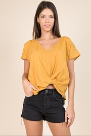 Miss Love Short-Sleeve Mustard Top - Product Mini Image
