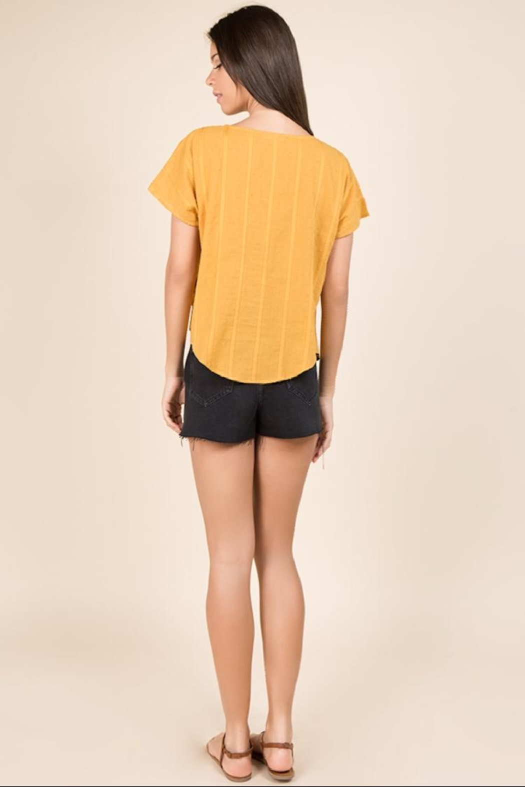 Miss Love Short-Sleeve Mustard Top - Back Cropped Image
