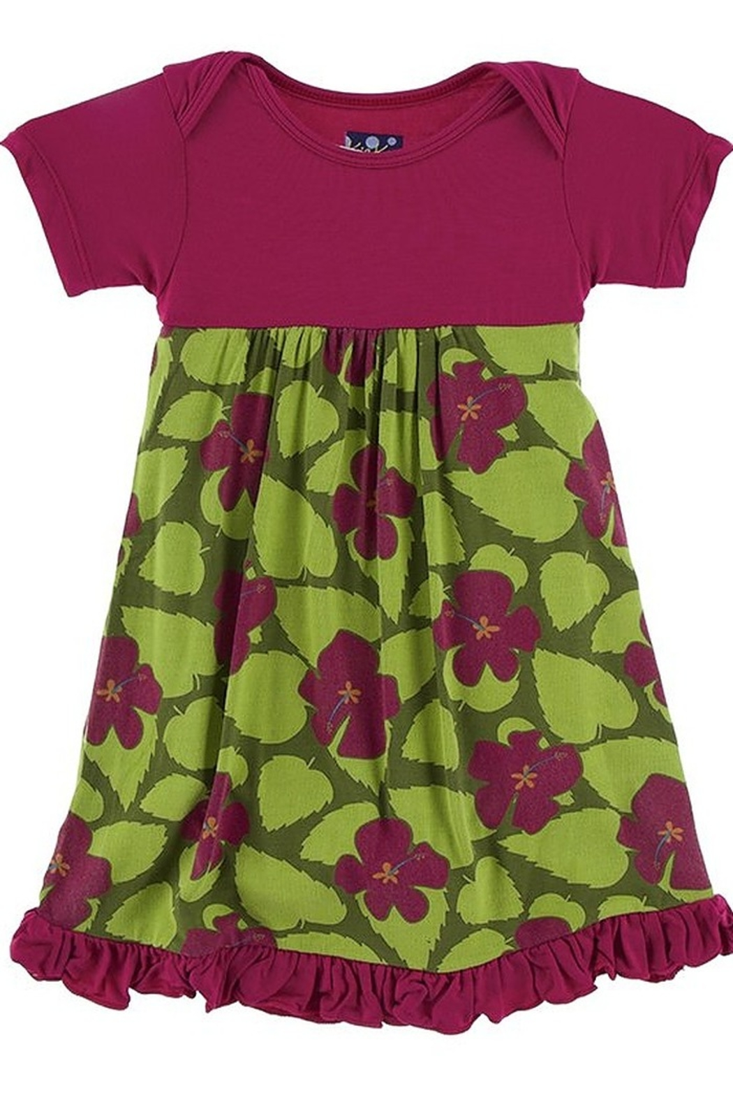 Kickee Pants Short Sleeve One Piece Dress Romper in Pesto Hibiscus - Front Cropped Image