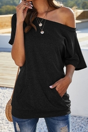 lily clothing Short Sleeve One Shoulder Tunic Top - Product Mini Image