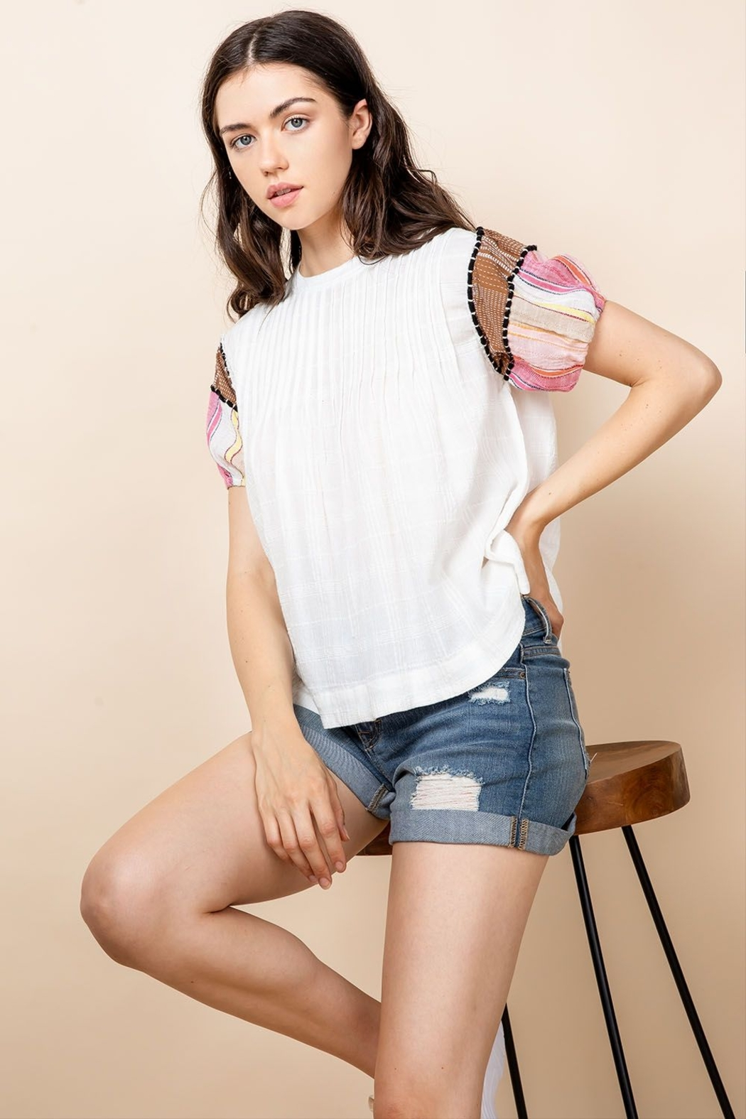 THML Clothing SHORT SLEEVE PINTUCK TOP - Main Image