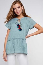 L Love Short Sleeve Pom Pom Tassel Top - Product Mini Image