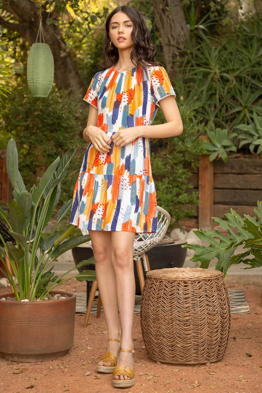 Thml Short Sleeve Print Dress - Front Cropped Image