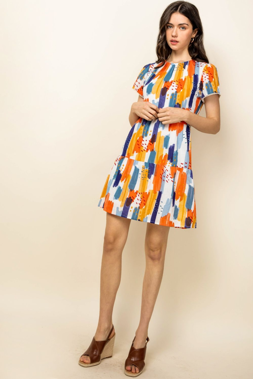 Thml Short Sleeve Print Dress - Side Cropped Image