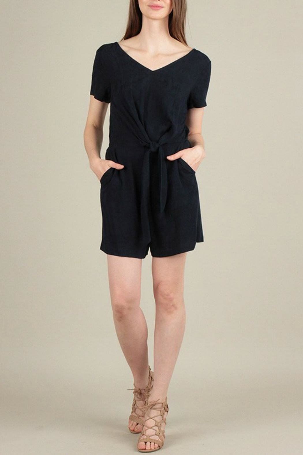Skies Are Blue Short Sleeve Romper - Front Cropped Image