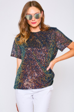 Vine & Love Short Sleeve Sequin Top - Product List Image