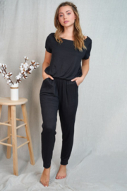 White Birch  Short Sleeve Solid Knit Jumpsuit - Product Mini Image