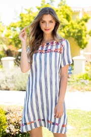 THML Clothing SHORT SLEEVE,STRIPE EMBROIDERED DRESS - Front cropped