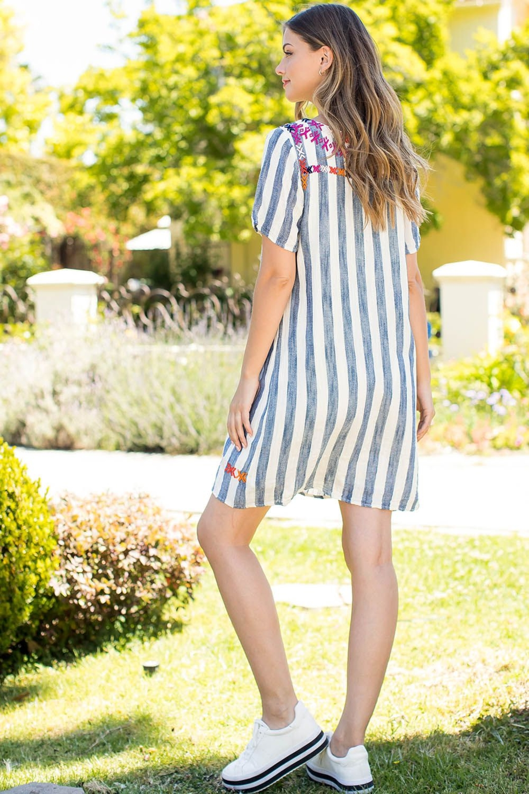 THML Clothing SHORT SLEEVE,STRIPE EMBROIDERED DRESS - Front Full Image