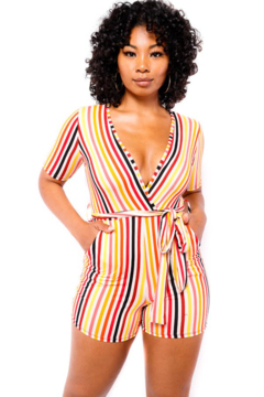 H&H Fashion SHORT SLEEVE STRIPPED ROMPER - Product List Image