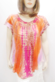 SOL SHORT SLEEVE TIE DYE BIAS TOP - Product Mini Image