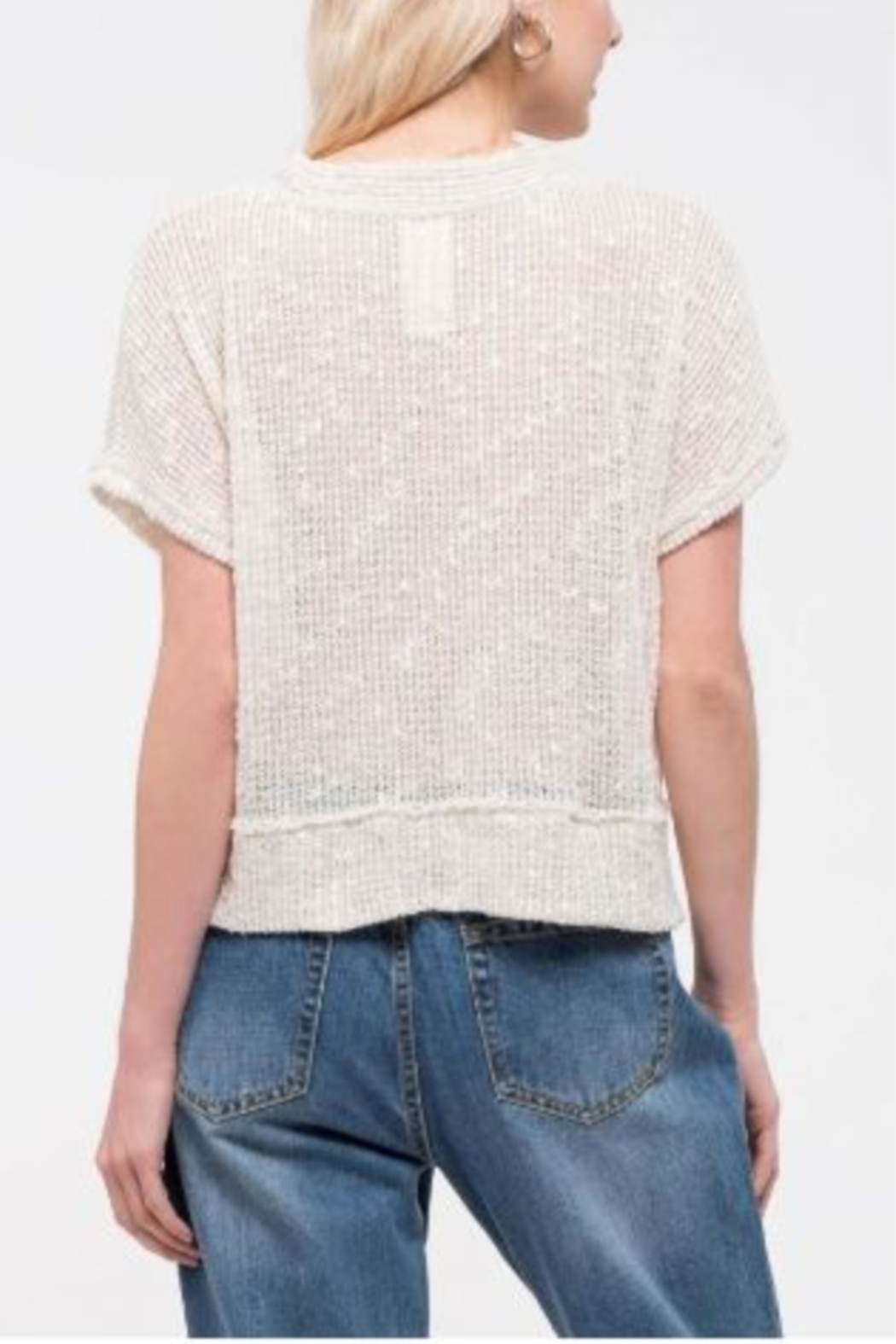 blu Pepper  Short Sleeve Top with Button Front - Front Full Image