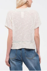 blu Pepper  Short Sleeve Top with Button Front - Front full body