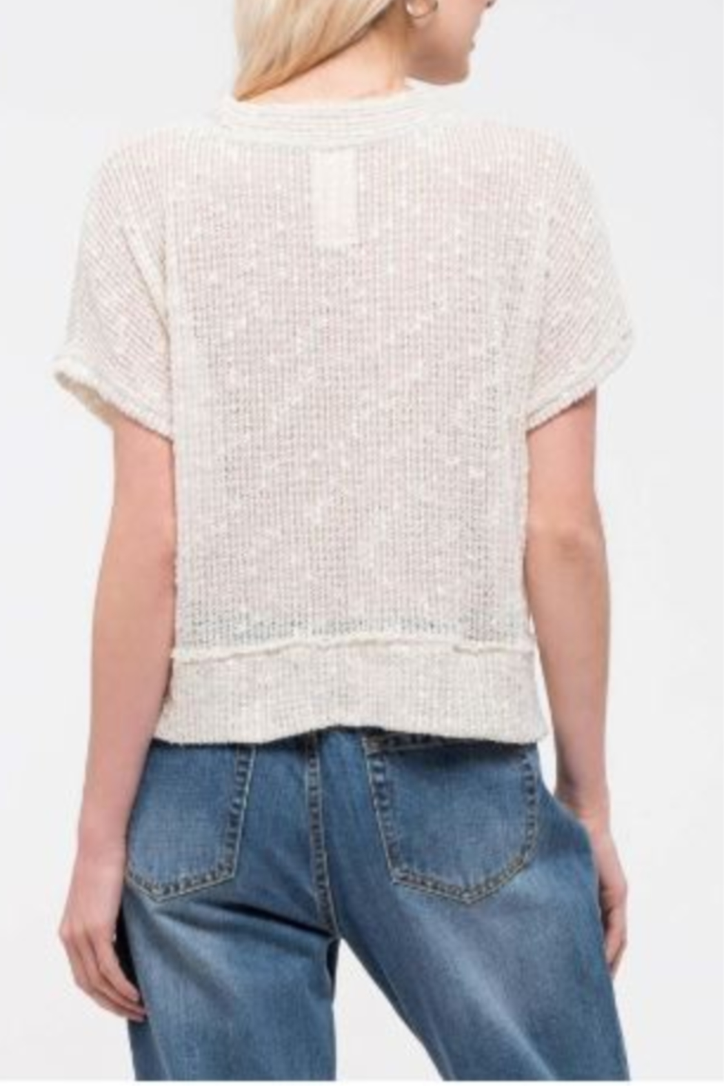 blu Pepper  Short Sleeve Top with Button Front - Back Cropped Image