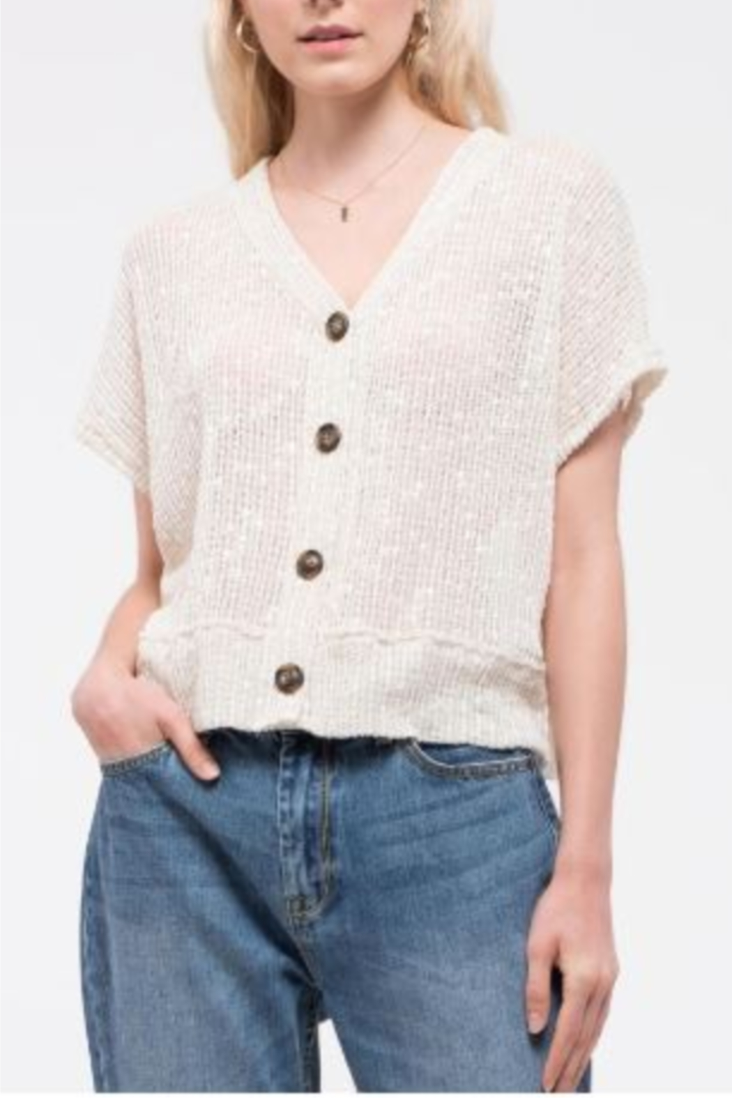 blu Pepper  Short Sleeve Top with Button Front - Side Cropped Image