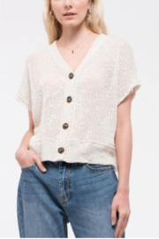 blu Pepper  Short Sleeve Top with Button Front - Front cropped
