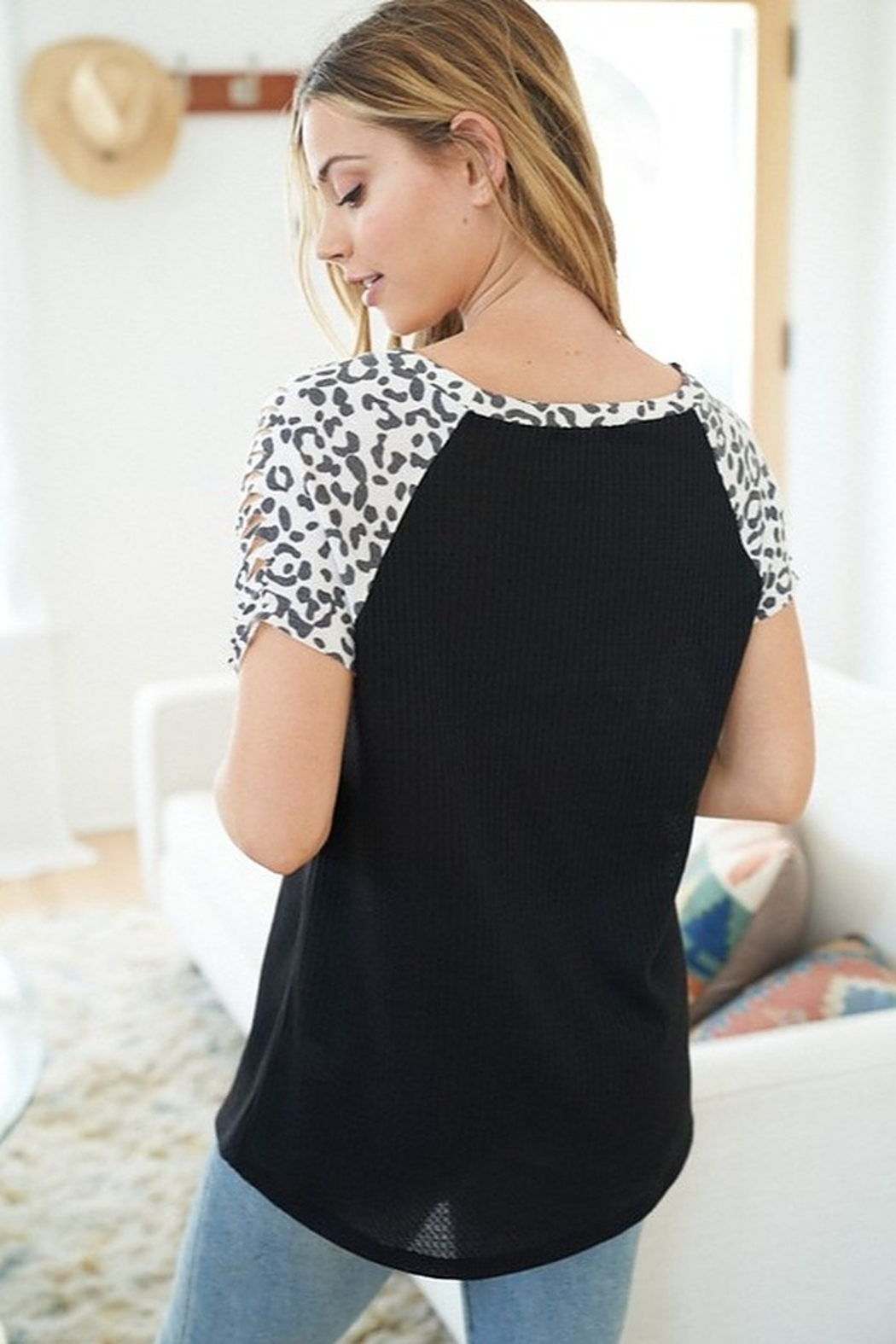 White Birch  Short Sleeve Top with Cheetah Print Sleeves - Front Full Image