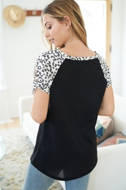 White Birch  Short Sleeve Top with Cheetah Print Sleeves - Front full body