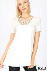 Zenana SHORT SLEEVE TRIPLE LATTICE TOP - Product Mini Image