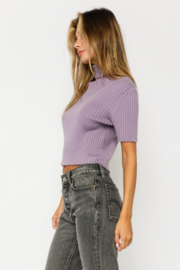 Olivaceous  Short Sleeve Turtleneck Sweater - Front full body