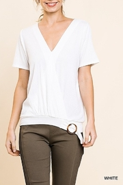 Umgee  Short Sleeve V-Neck Crossbody Top with Tortoise Clasp Detail - Product Mini Image