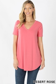 Zenana SHORT SLEEVE V-NECK ROUND HEM TOP - Product Mini Image