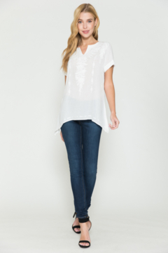 Shoptiques Product: Short Sleeve White Top with Embroidery