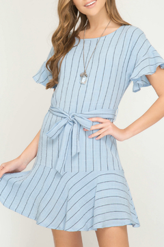 Shoptiques Product: Short sleeve woven dress with ruffles and waist tie detail