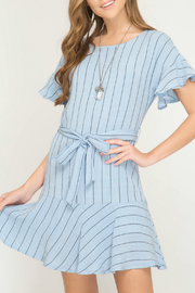 She + Sky Short sleeve woven dress with ruffles and waist tie detail - Product Mini Image