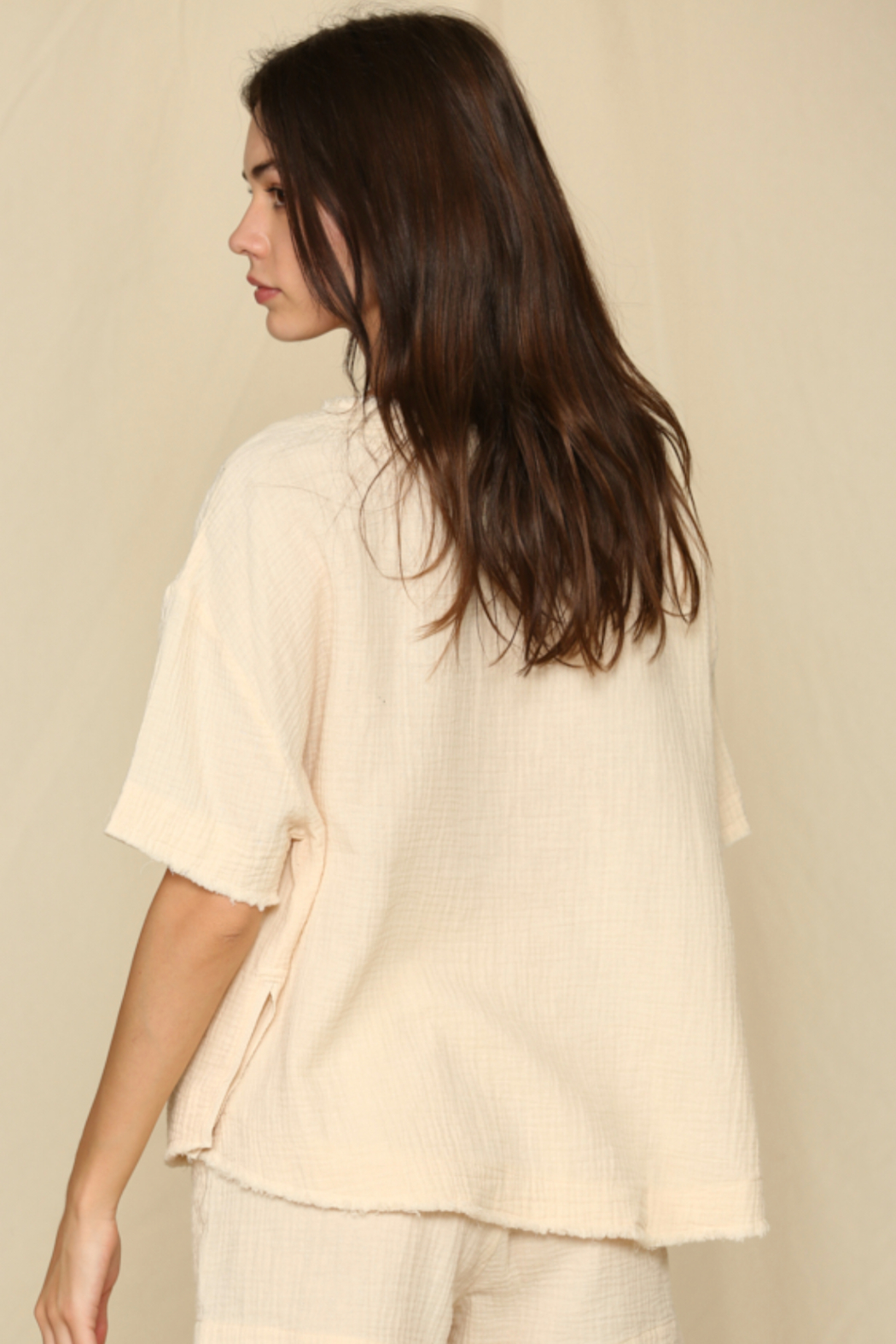 By Together  Short Sleeve Woven Gauze Top - Front Full Image