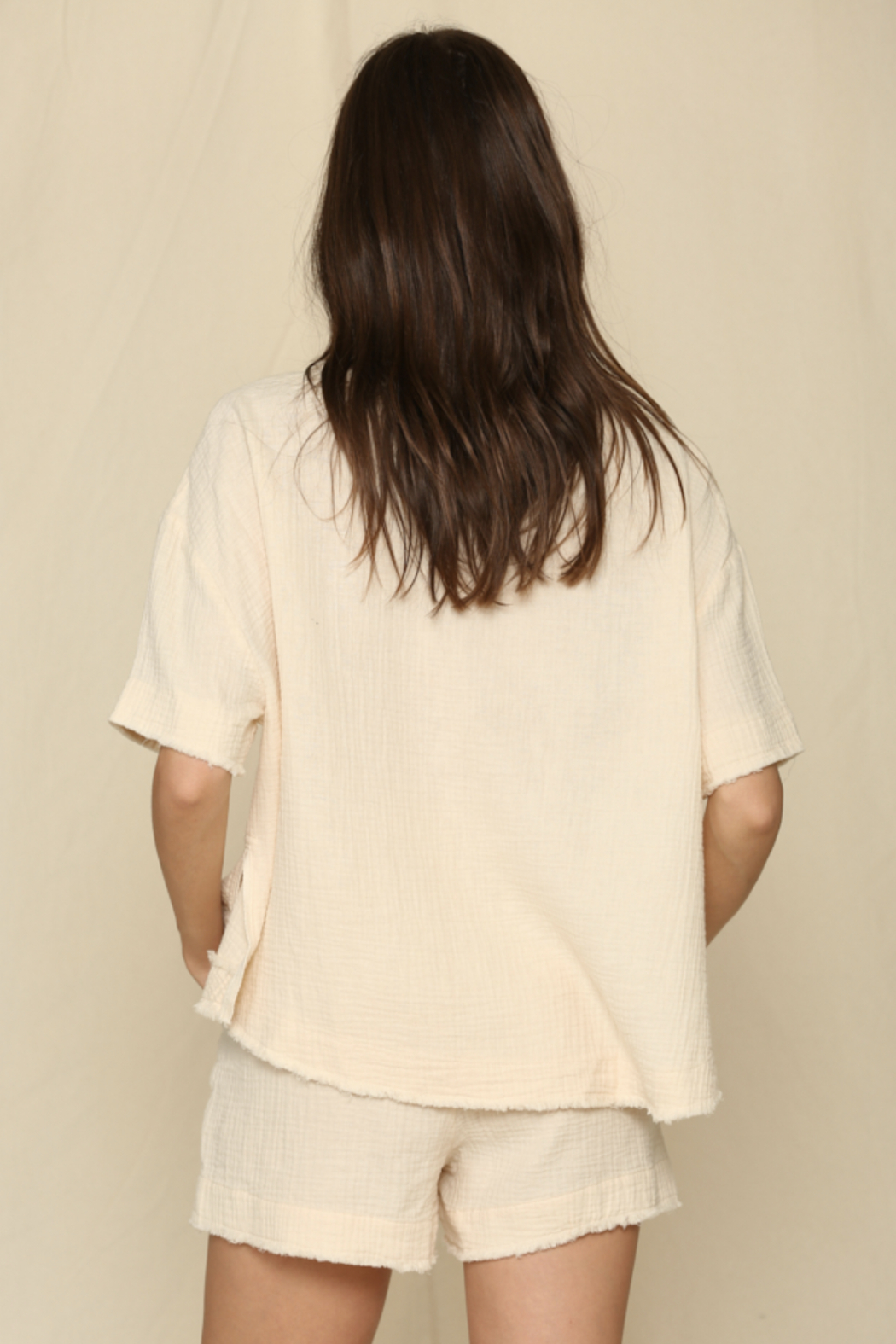 By Together  Short Sleeve Woven Gauze Top - Side Cropped Image