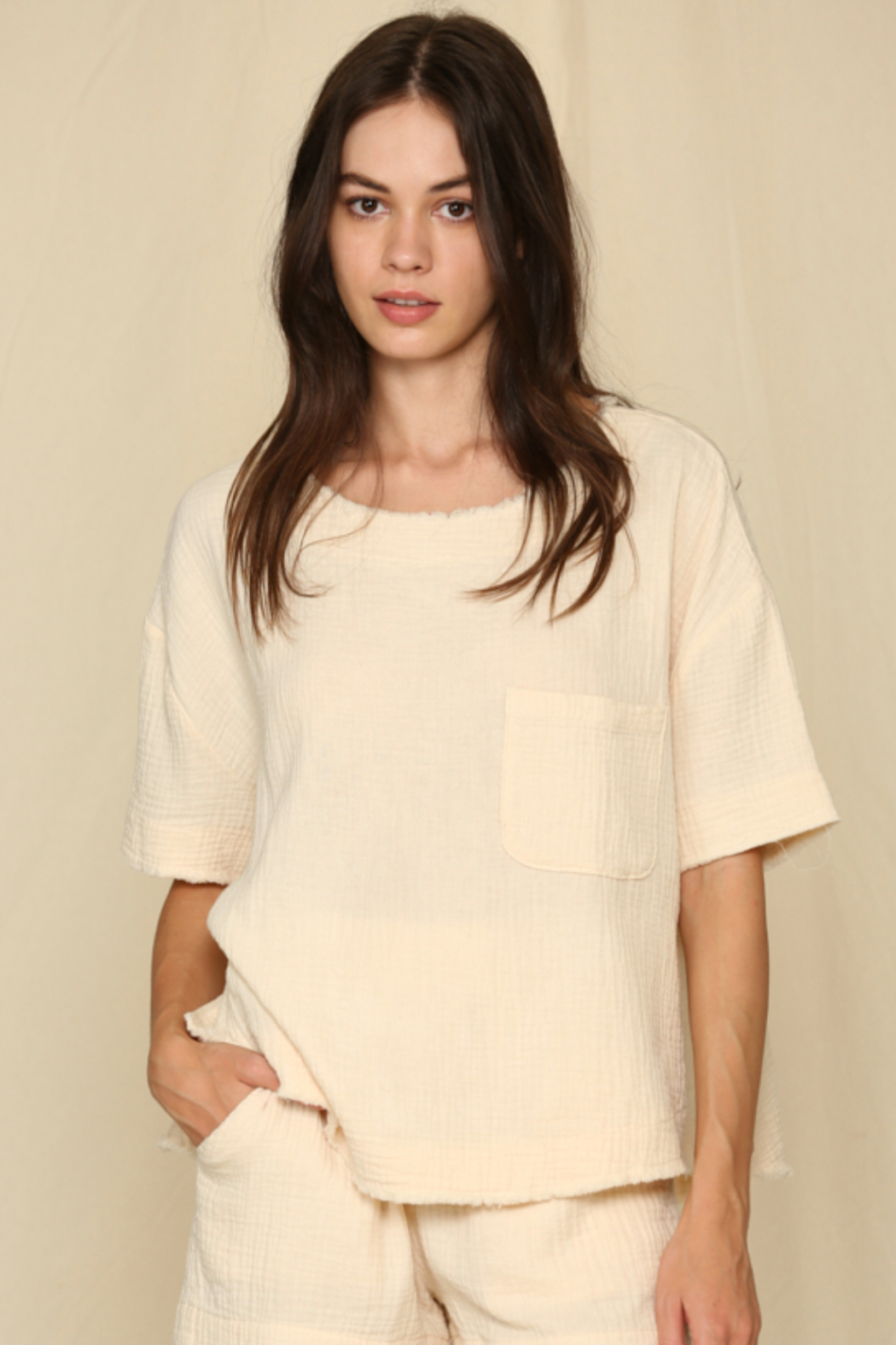 By Together  Short Sleeve Woven Gauze Top - Main Image