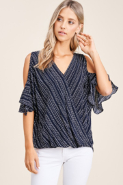 Staccato Short Sleeve Wrap Cold Shoulder Top - Product Mini Image