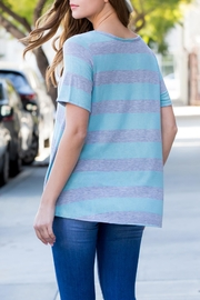 Riah Fashion Short-Sleeved Round-Neck Striped-Top - Front full body