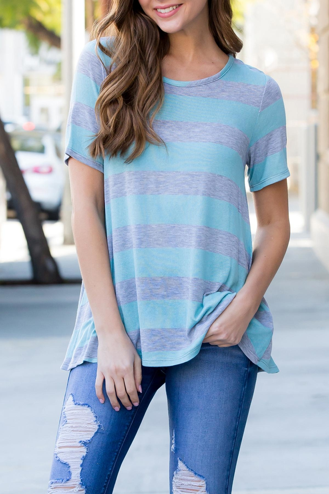 Riah Fashion Short-Sleeved Round-Neck Striped-Top - Front Cropped Image
