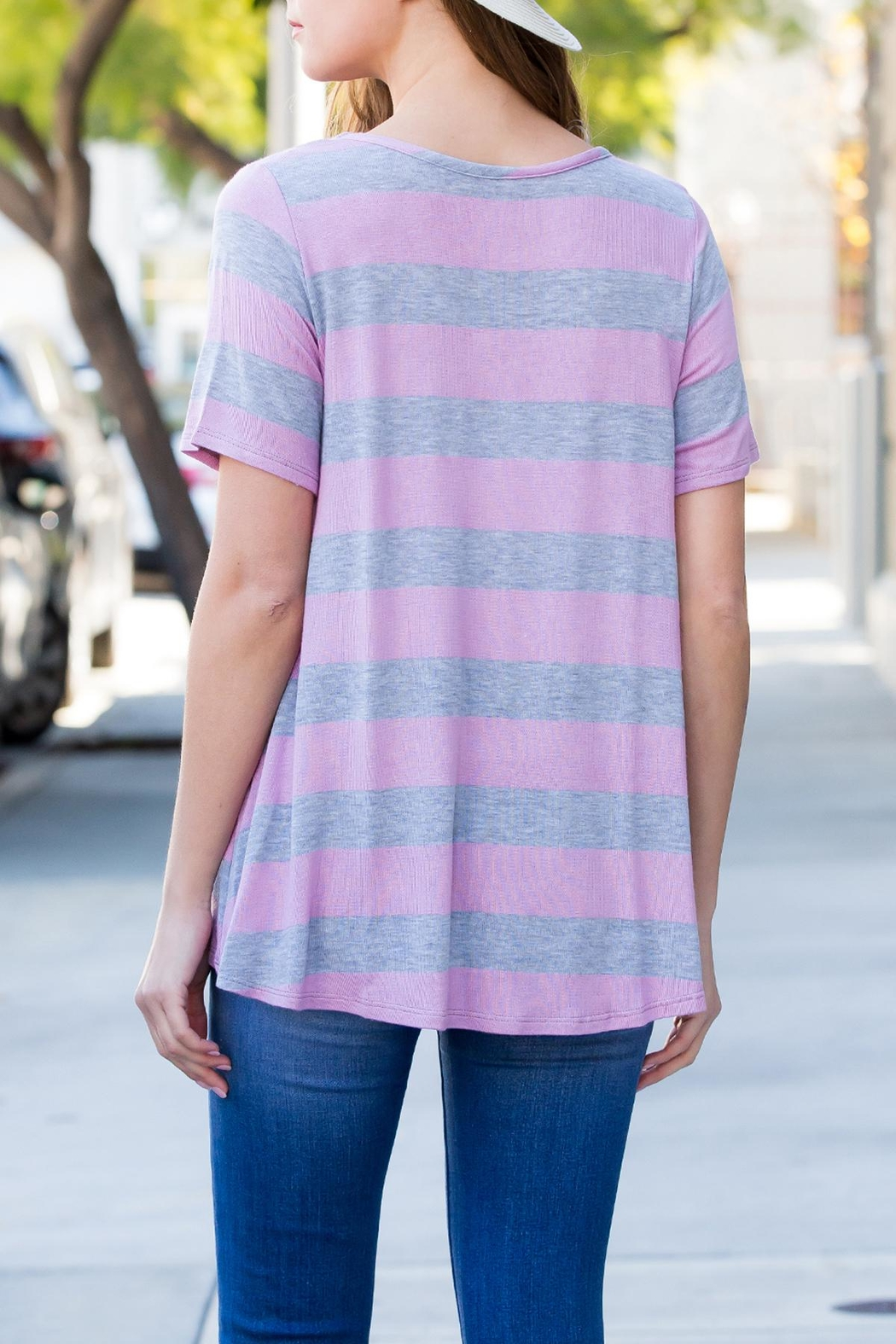 Riah Fashion Short-Sleeved Round-Neck Striped-Top - Front Full Image