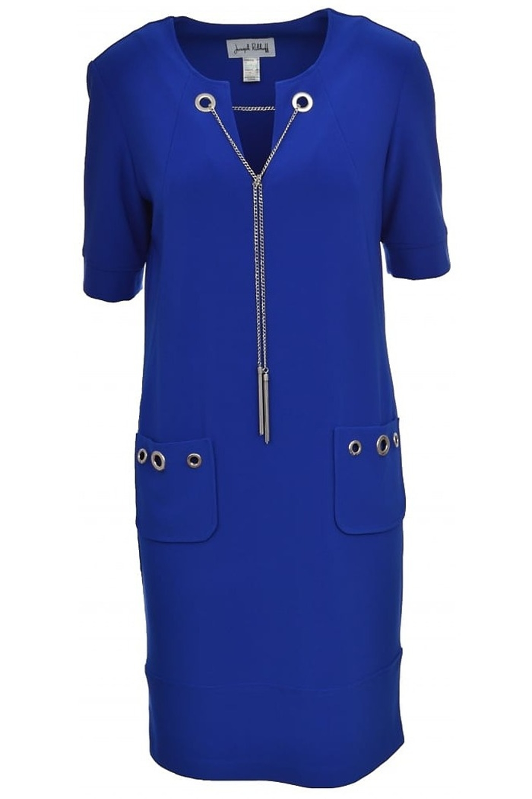Joseph Ribkoff short sleeved royal blue dress with silver details - Front Full Image
