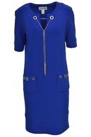 Joseph Ribkoff short sleeved royal blue dress with silver details - Front full body