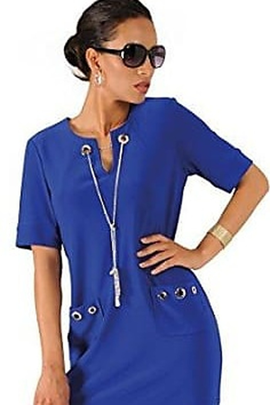 Joseph Ribkoff short sleeved royal blue dress with silver details - Main Image