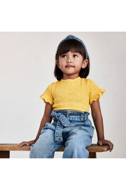 Mayoral Short Sleeved Smocked Tee - Front full body
