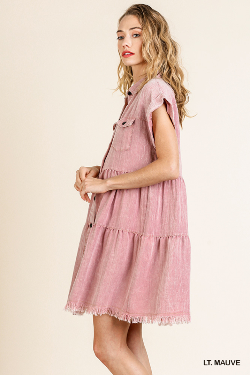 umgee  SHORT SLV BUTTON FRONT COLLARED RUFFLE DRESS - Front Full Image
