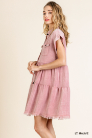 umgee  SHORT SLV BUTTON FRONT COLLARED RUFFLE DRESS - Front full body