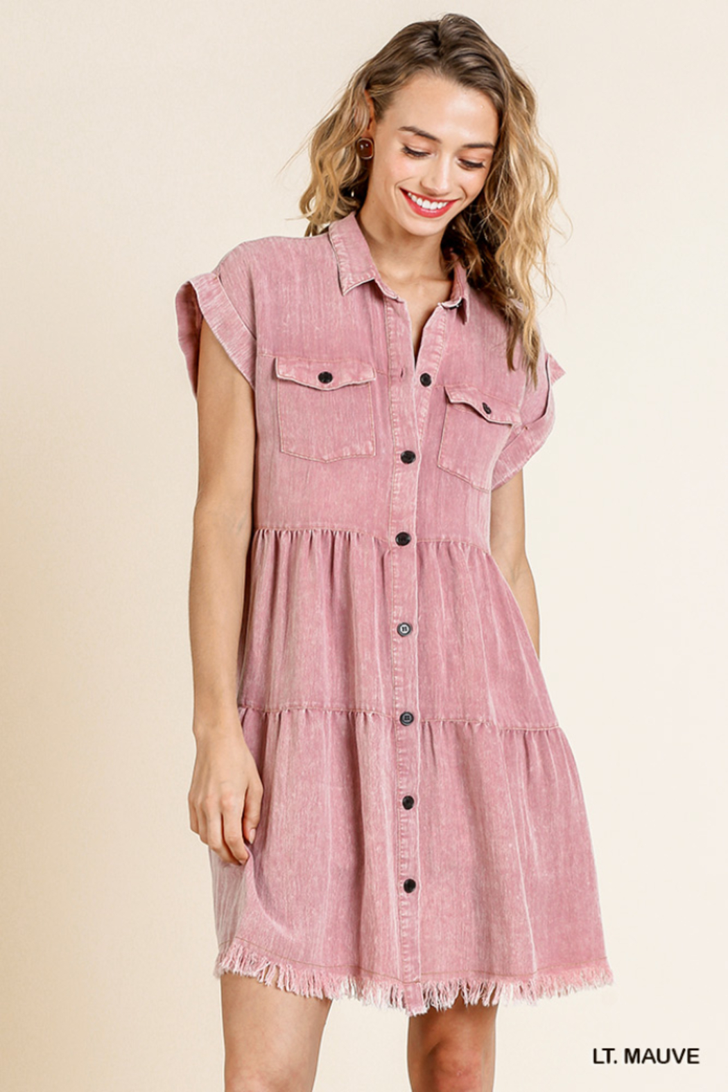 umgee  SHORT SLV BUTTON FRONT COLLARED RUFFLE DRESS - Main Image