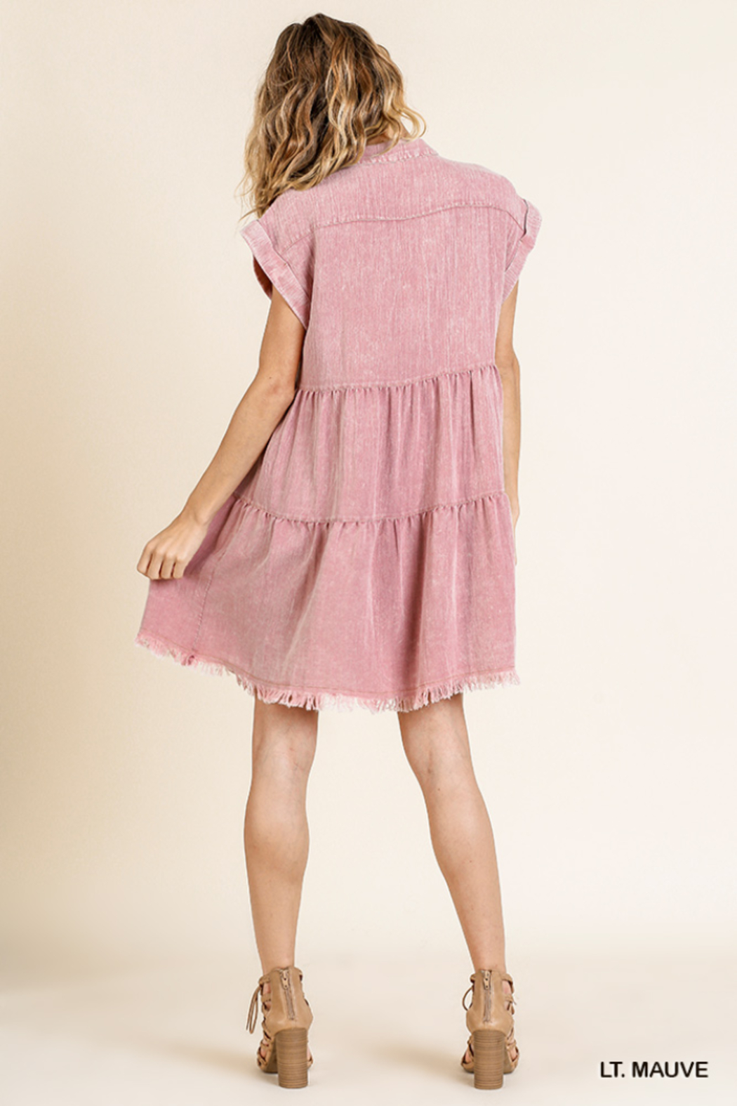umgee  SHORT SLV BUTTON FRONT COLLARED RUFFLE DRESS - Side Cropped Image