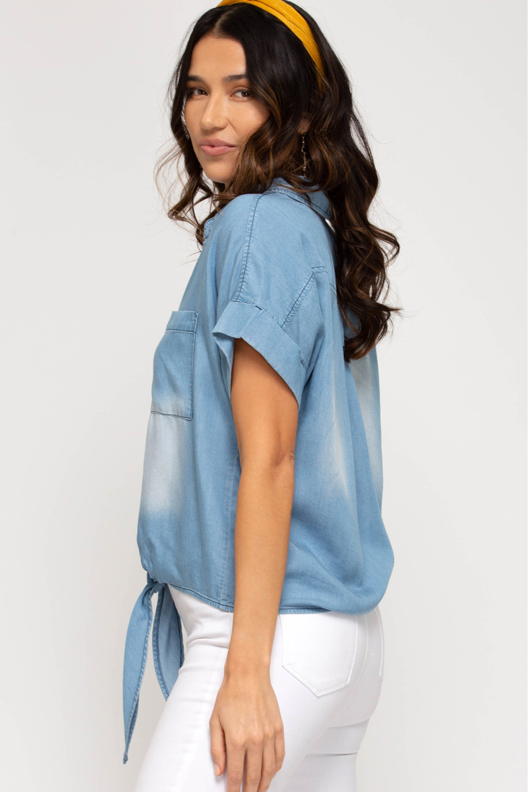 She and Sky SHORT SLV CHAMBRAY TOP W/ FRONT TIE - Front Full Image