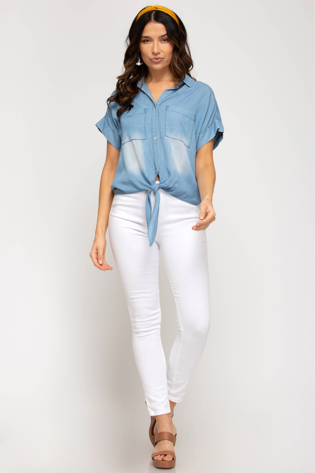 She and Sky SHORT SLV CHAMBRAY TOP W/ FRONT TIE - Main Image