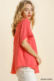 umgee  SHORT SLV LAYERED TOP W/ FRAYED HEM - Front full body