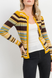 Vintage Sweaters, Retro Sweaters & Cardigan Short Stripe Caridgan $39.00 AT vintagedancer.com
