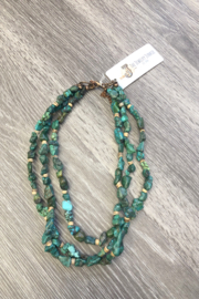 Jewelry Junkie Short Triple Strand Turquoise Necklace - Front cropped