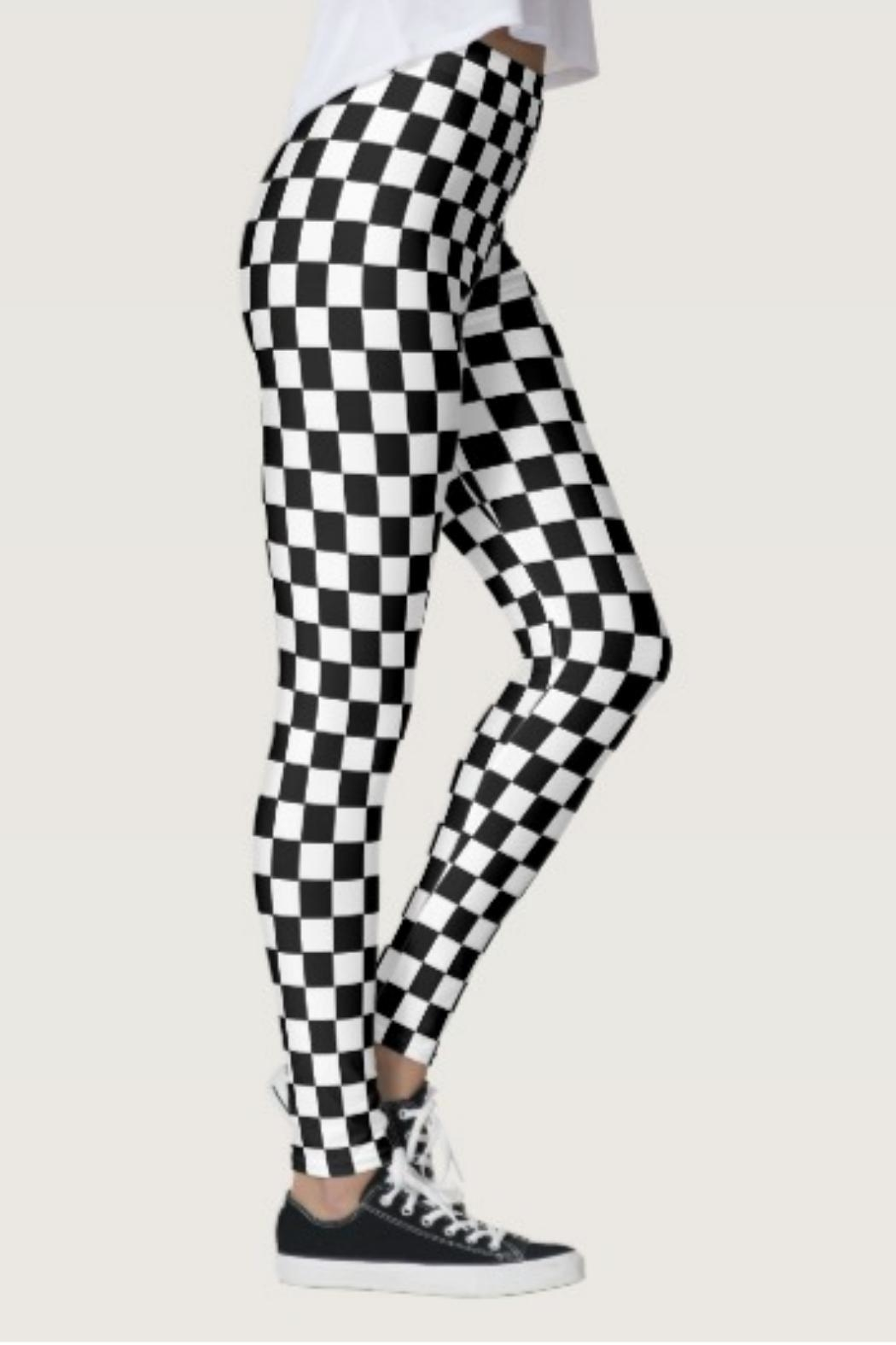Shosho Black-White Checkered Leggings - Front Cropped Image